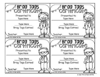 Brag/Swag Tags Certificate