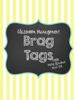 Brag Tag Freebie! Perfect Attendance & Honor Roll Brag Tags