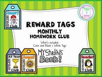 Brag Tag Homework Club by Month