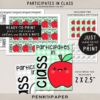 Brag Tag Kit: Participates in Class