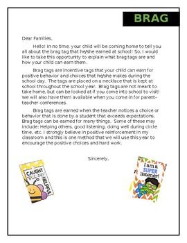 Brag Tag Parent Letter