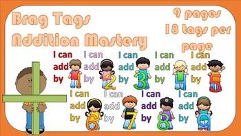 Brag Tags -- 1 through 9 Basic Addition