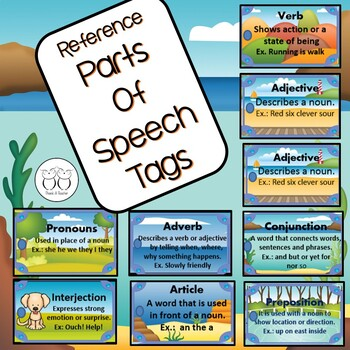 Brag Tags:9 Parts of Speech Reference Tags