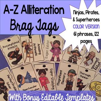 Brag Tags A-Z Alliteration with Bonus Editable Templates -