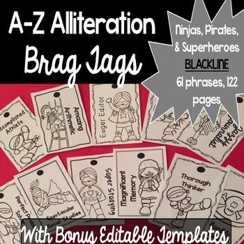 Brag Tags A-Z Alliteration with Bonus Editable Templates - BLACKLINE VERSION