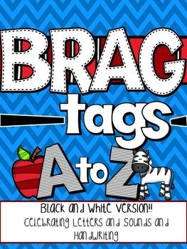 Brag Tags Alphabet Black and White Version