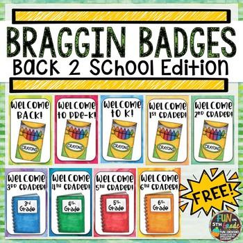 Back to School Braggin Badges FREEBIE | Reward Tags