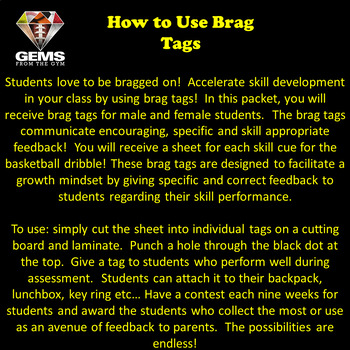 Brag Tags!  Basketball Dribble Skill Cues