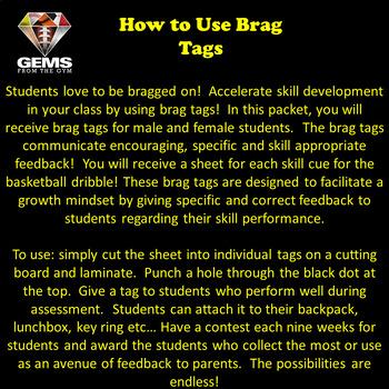 Physical Education Brag Tags!  Basketball Dribble Skill Cues