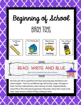 Brag Tags- Beginning of School