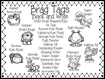 Brag Tags Black and White