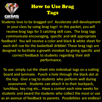 Physical Education Brag Tags: Catching Skill Cues!