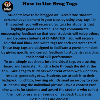 Brag Tags!!  Character Traits for Kids