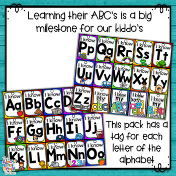 Brag Tags - I know my ABC's - Classroom Management/Reward System