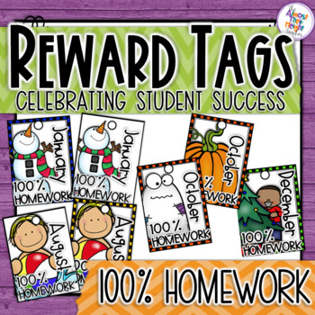 Brag Tags - Classroom Management System - Monthly 100% Homework
