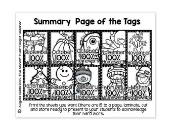 Brag Tags - 100% Homework - Classroom Management System - BLACK AND WHITE