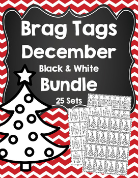 Brag Tags December Black and White Bundle