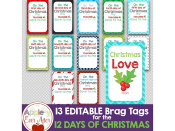 Brag Tags - EDITABLE 12 DAYS OF CHRISTMAS