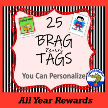 Brag Reward Tags Editable You Can Personalize
