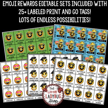 Emoji Brag Tags EDITABLE- Positive Behavior Incentive Emoji Back to School