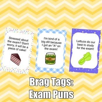 Brag Tags: Exam Puns Set