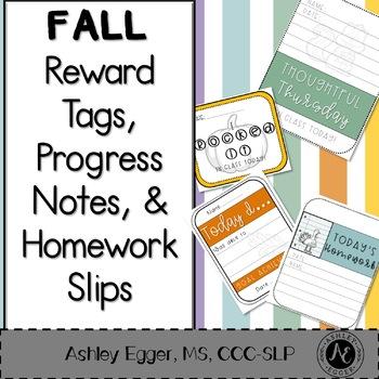 Brag Tags, Progress Notes, and Homework Slips - Fall Themed