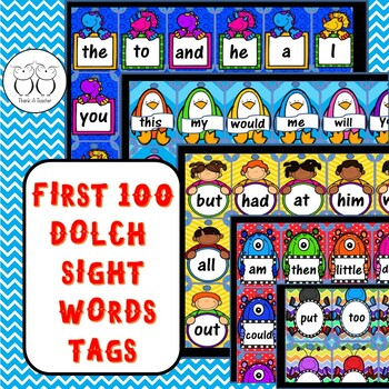 Brag Tags : First 100 Dolch Sight Words Tags