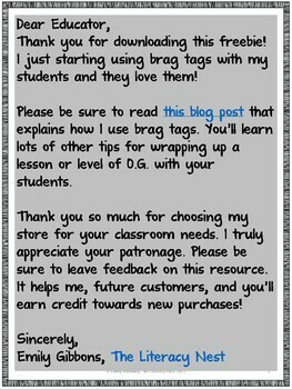 Brag Tags Freebie for Reading and Spelling for Orton-Gillingham Lesson