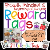 Reward Tags: Growth Mindset & Beginning of the year Set in Color!