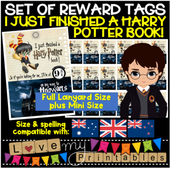 Brag Tags Set, Harry Potter 'I Just Finished A Harry Potter Book' 4 Full+18 Mini