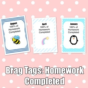 Brag Tags: Homework Completed Set