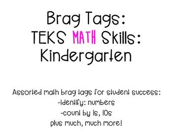 Brag Tags- Kinder Math Skills