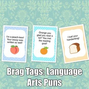 Brag Tags: Language Arts Puns Set