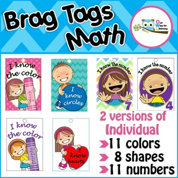 Brag Tags Math  Individual colors, numbers, shapes