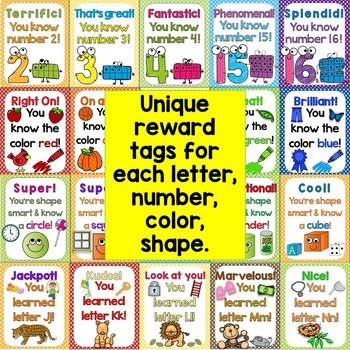 Reward Tags Mega Bundle (Alphabet, Numbers, Colors, Sight Words, 2D & 3D Shapes)