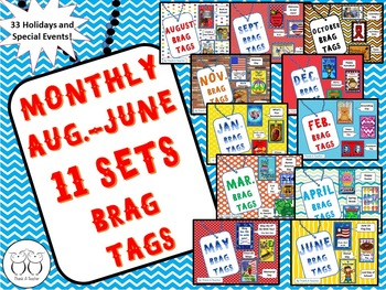 Brag Tags: Monthly Holiday Set 11 months 33 tags!