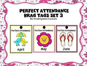 Brag Tags Perfect Attendance Set 3 Free