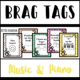 Brag Tags - Piano and Music - Retro Rainbow