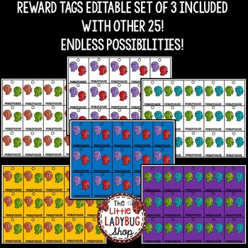 Reward Tags - Growth Mindset Classroom Management Coupons Editable