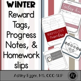 Reward Tags, Progress Notes, and Homework Slips- Winter Themed
