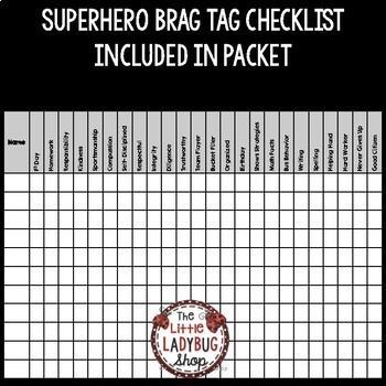 Superhero Brag Tags Editable