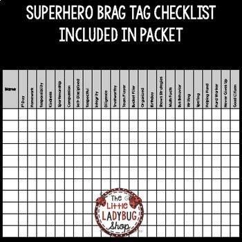 Superhero Brag Tags Editable