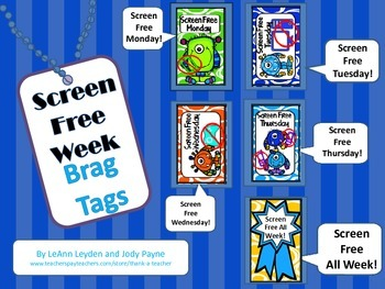 Brag Tags: Screen Free Week Daily Tags and Contract
