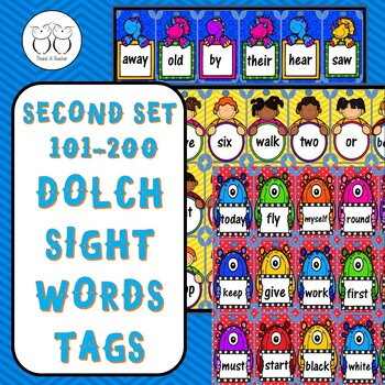 Brag Tags: Second Set 101-200 Dolch Sight Words Tags