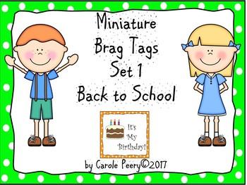 Miniature Brag Tags Set 1 Back to School Editable