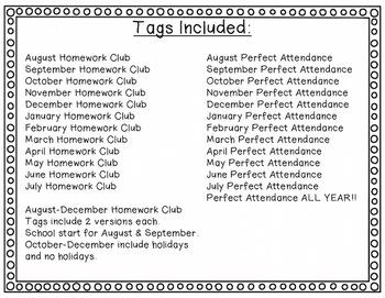 Brag Tags - Set 2 Attendance & Homework Tags