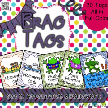 Brag Tags - Set 2 Attendance & Homework Tags