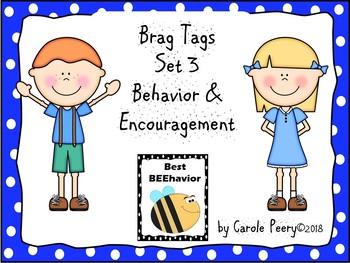 Brag Tags Set 3 Behavior & Encouragement Editable