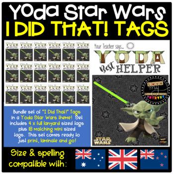 Brag Tags Set - Star Wars 'Yoda Best Helper' Theme, 4 full-size + 18 mini size