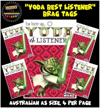 """Brag Tags - Star Wars """"Yoda Best Listener"""" - A3 PDF (4pp)"""